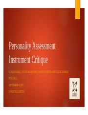 Team E - Personality Assessment Instrument Critique -week 4 Update 4  .pptx