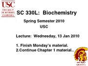 BISC 330 Spring 2010 Lecture 2
