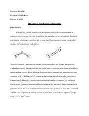 Chemistry Effects of Acid Rain Research Paper