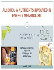Lecture 7 Alcohol & Nutrients in Energy Metabolism
