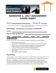 ECON1000 Assignment Cover Sheet S1 2017