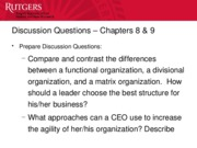 Chapter 8,9 - Discussion Questions