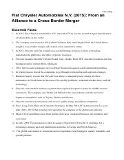 Xiao Jiang Fiat Chrysler Automobiles N.V. (2015): From an Alliance to a Cross-Border Merger