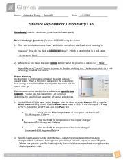 Calorimetry Lab Gizmo.pdf - Jayden Ing-Nikkel Name Date ...