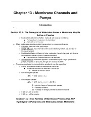 Biochemistry Berg 7e - Chapter 13 - Membrane Channels and Pumps