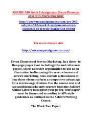 ASH SRV 340 Week 2 Assignment Seven Elements of Service Marketing NEW.doc