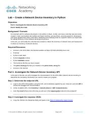 2 3 2 1 Lab - Create a Host Inventory in Python pdf - Lab Create a