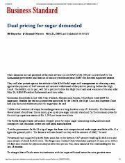 Dual Pricing for Sugar Demanded