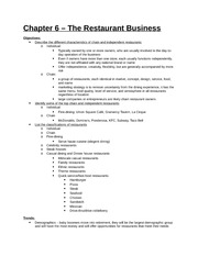 Study Guide - Part 2 - Chapter 6 - The Restaurant Business