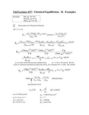 Chem 5.62 Chemical Equilibrium II Notes