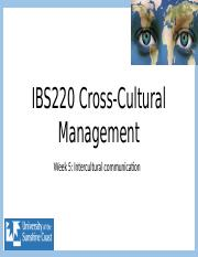 IBS220 Week 5 Inter-cultural communication