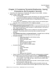 Chapter 10 Sustaining Terrestrial Biodiversity: Saving Ecosystems and Ecosystem Services.docx