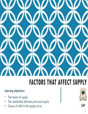 Chapter 5 - Factors that affect supply