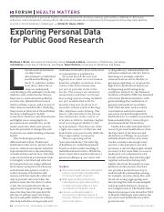 Exploring Personal Data for public good research