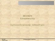 Session 07 Legal Issues in Entrepreneurship - Intellectual Property