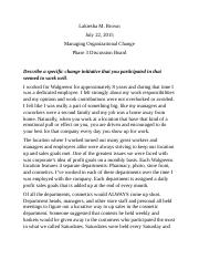 managing organizational change phase 3 discussion board.docx