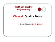 Class 4 Quality Tools