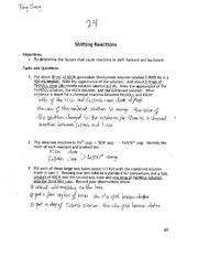 CHEM 1111 Shifting Reaction Lab Work