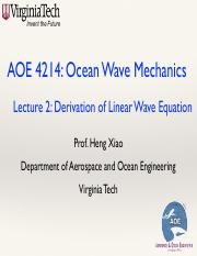 Waves-Lecture-2-Laplace-Equation pdf - AOE 4214 Ocean Wave