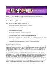 Chapter 15 - Foundations of Organizational Structure - Module