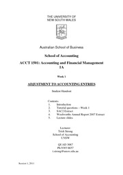 Week 1 Lecture Notes - Adjustment to Accounting Entries