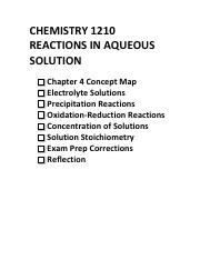 Chapter 4 Reactions in Aqueous Solutions Study Session Packet and Answers