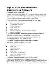 Top 21 SAP MM Interview Questions
