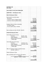 Solutions to in class questions -- Earnings per Share