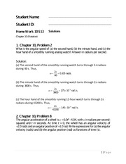 Physics 1 Chapter 10 Homework Solutions