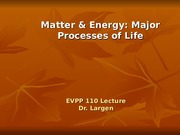 EVPP 110 Lecture Matter and Energy Major Processes of Life