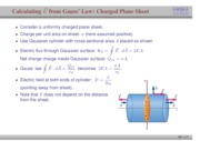 54. Calculating Electric Field from Gauss' Law- Charged Plane Sheet