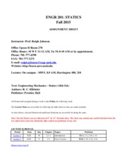 Statics Syllabus Fall 2015
