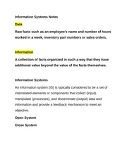 Information Systems Notes