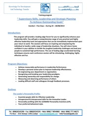 Supervisory Skills, Leadership and Strategic Planning to Achieve Outstanding Goals