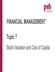 Topic 7 Stock Valuation and Cost of Capital (Chp 79)