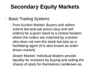 Secondary Equity Markets