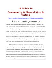 A Guide To Goniometry & Manual Muscle Testing
