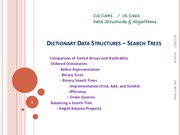 DICTIONARY DATA STRUCTURES – SEARCH TREES