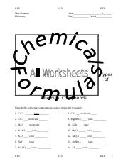 AcademicChemical Formulas All Worksheets KEY