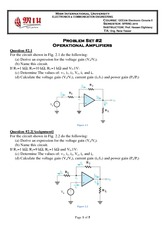 Problem Set 2 - Operational Amplifiers