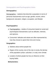 Demographics and Psychographics Notes