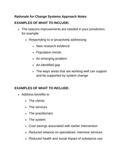 Rationale for Change Systems Approach Notes