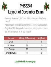 PHS3240 December Exam Layout