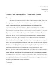Summary and Response Paper: The Federalist Attitude.docx