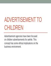 Advertisement to childrens