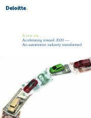 A New Era - accelerating toward 2020 - an automative industry transformed