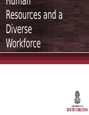 Chapters 12 and 13 (Part I) - Managing Human Resources and Diversity