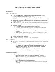 Study Guide for Federal Government- Test 2.docx