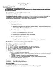 PSYC 3082 Test 1 Study Guide