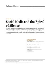 Hampton et al, Social Media and the 'Spiral of Silence' (2014)